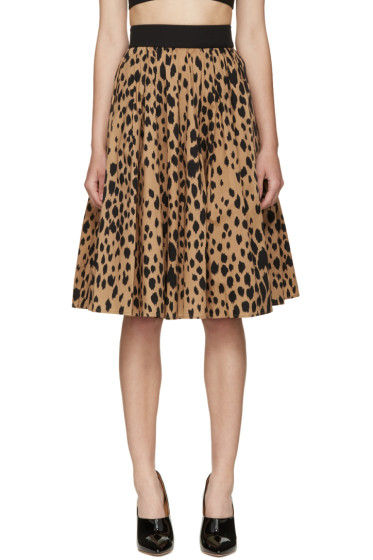 Fausto Puglisi - Black Animal Print Pleated Skirt
