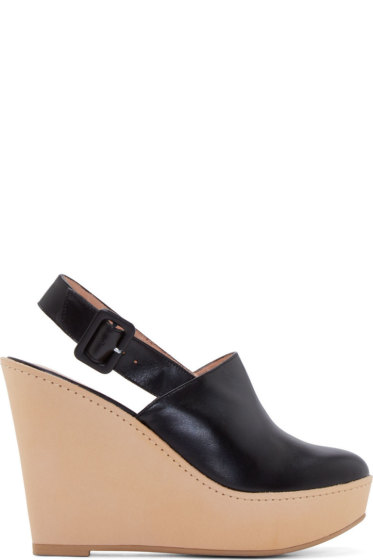 Robert Clergerie - Black Leather French Wedge Mules