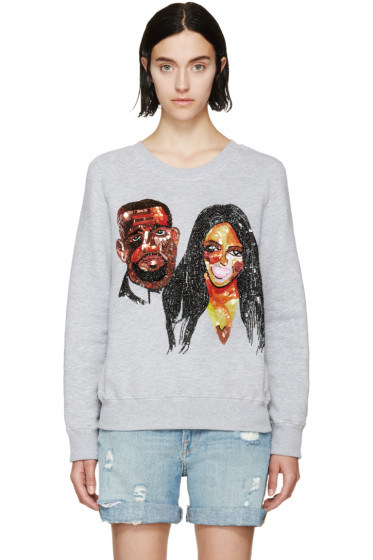 Ashish - Grey Sequinned Kimye Sweatshirt