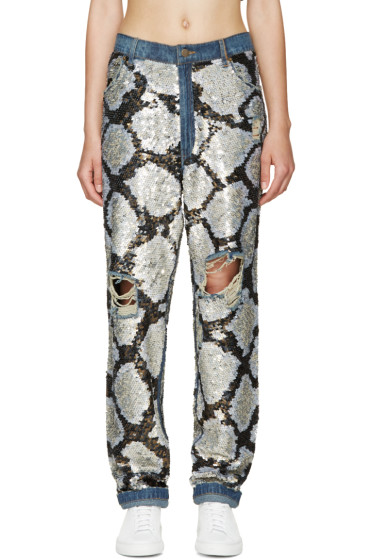 Ashish - Silver Sequinned Destroyed Jeans