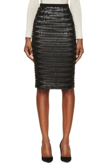 Burberry London - Black Silk Sequin Embroidered Midi Skirt
