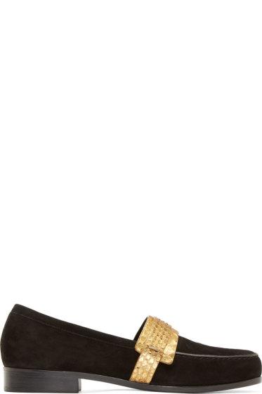 Carritz - SSENSE Exclusive Black Velvet & Suede Mocassins