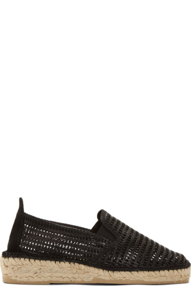 Prism - Black Leather Mesh Marroca Espadrilles