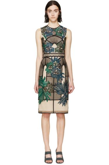 Erdem - Beige & Black Embroidered Brenton Dress