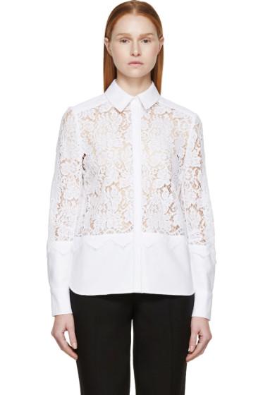 Erdem - White Lace Paneled Beatrix Shirt