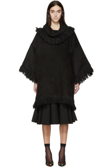 Dolce & Gabbana - Black Alpaca Fringe Poncho