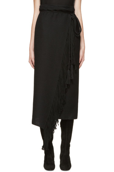 Lanvin - Black Fringed Wrap Skirt