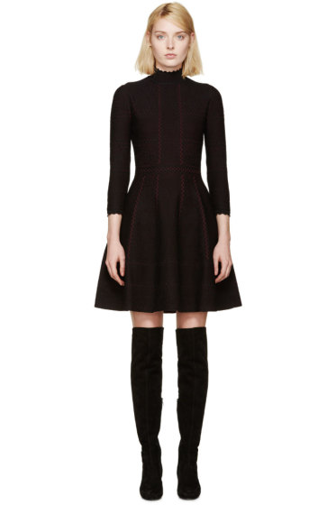 Alexander McQueen - Black & Red Lace Flare Dress