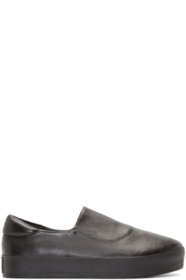 Opening Ceremony - Black Leather Slip-On Sneakers