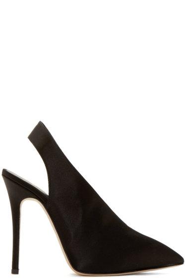 Giuseppe Zanotti - Black Satin Slingback Stiletto Heels