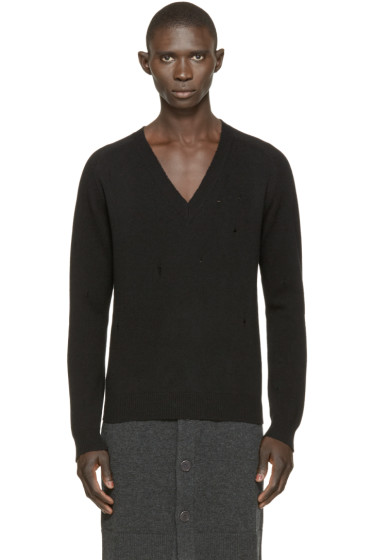 Givenchy - Black Distressed Wool Sweater