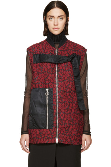 3.1 Phillip Lim - Red  & Black Quilted Lace Strap Vest