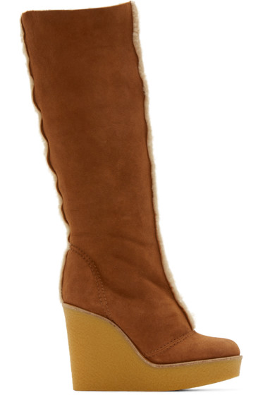 Chloé - Tan Shearling Wedge Boots