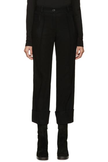 Ann Demeulemeester - Black Cuffed Wool Trousers