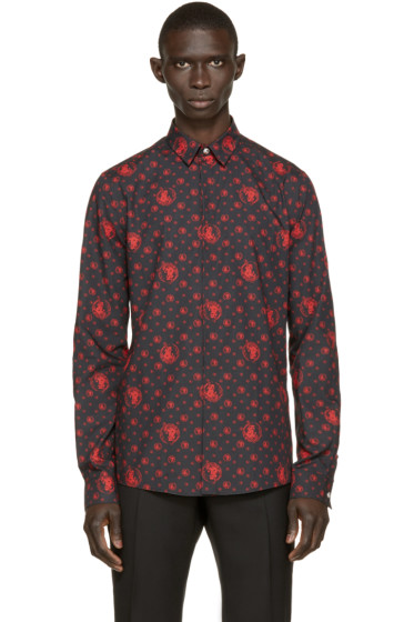 Versus - Black & Red Patterned Poplin Shirt