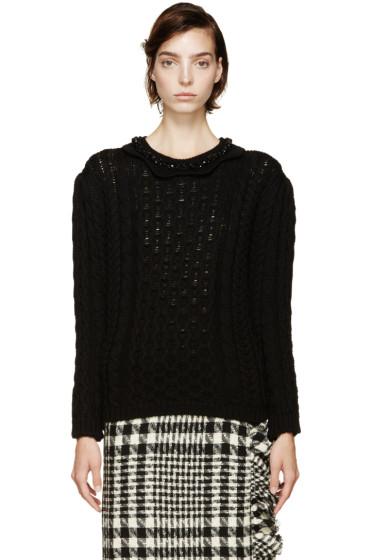 Simone Rocha - Black Beaded Collar Sweater
