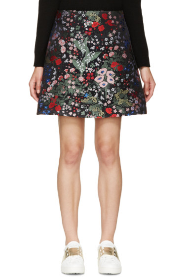 Valentino - Black Embroidered Floral Print Skirt