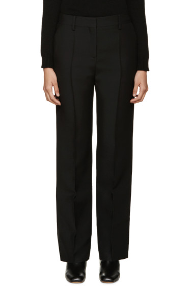 Valentino - Black Pintuck Wool Trousers