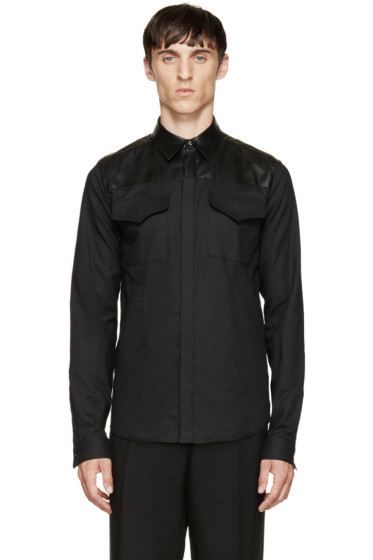 Costume National - Black Leather & Cotton Shirt