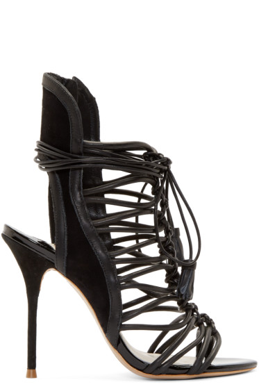 Sophia Webster - Black Leather Lacey Heels