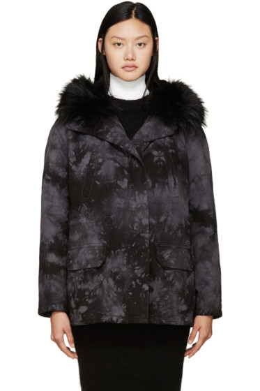 Army by Yves Salomon - Black & Grey Tie-Dye Fur-Lined Parka