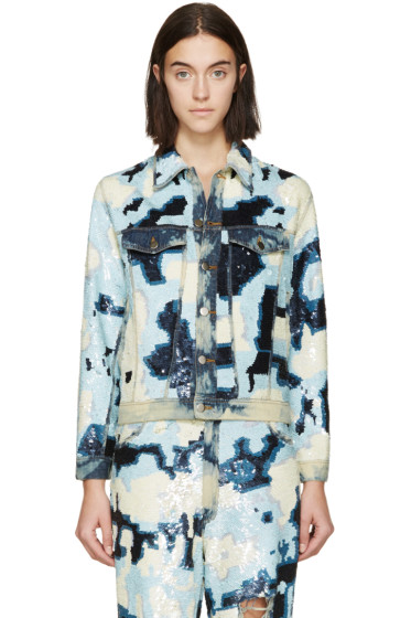 Ashish - Blue & White Sequined Denim Jacket