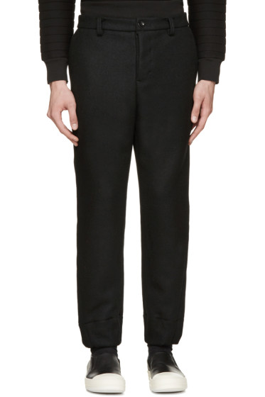 Diet Butcher Slim Skin - Black Felted Wool Trousers