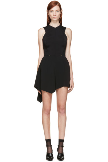 Esteban Cortazar - Black Draped Crepe Dress