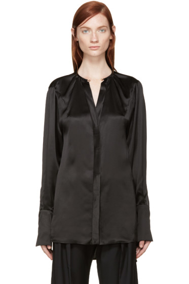 Esteban Cortazar - Black Necklace Collar Silk Blouse