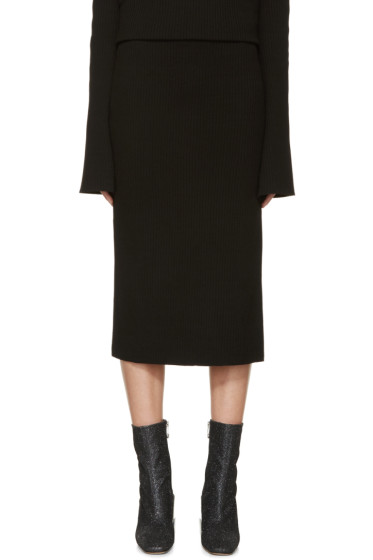 Thomas Tait - Black Rib Knit Tea Skirt