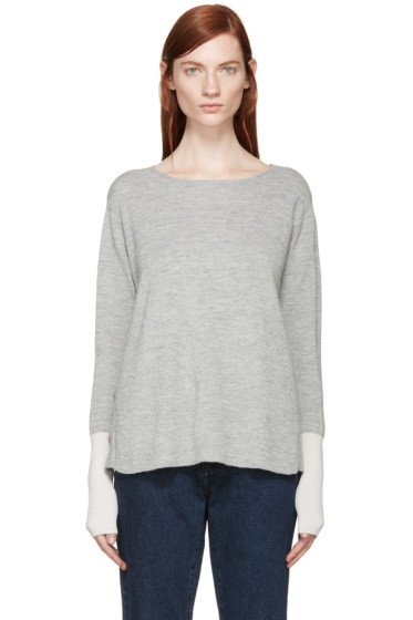 Aalto - Grey & Pink Alpaca Wool Paneled Sweater