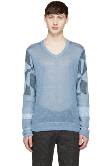 Junya Watanabe - Blue Knit Patchwork Sweater