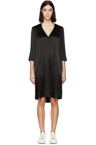 Raquel Allegra - Black Silk V-Neck Dress