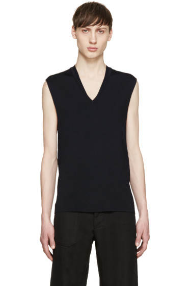 Neil Barrett - Navy Sleeveless Knit Sweater