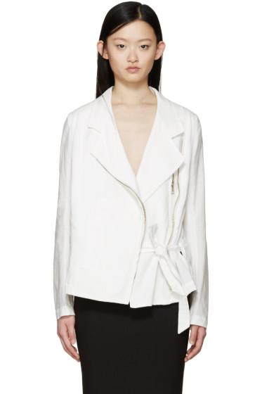 Ann Demeulemeester - White Cotton Joan Biker Jacket
