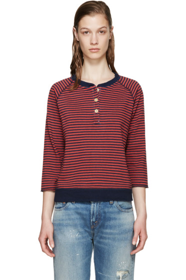 Visvim - Red & Navy Striped Border Henley  Pullover