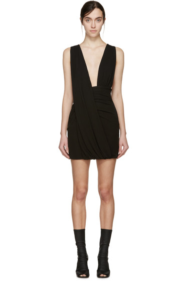 Anthony Vaccarello - Black Draped Jersey Dress
