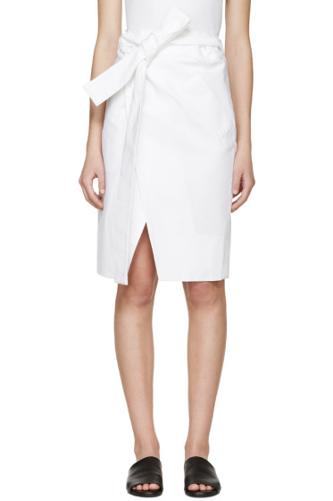 Each x Other - White Belted Wrap Skirt