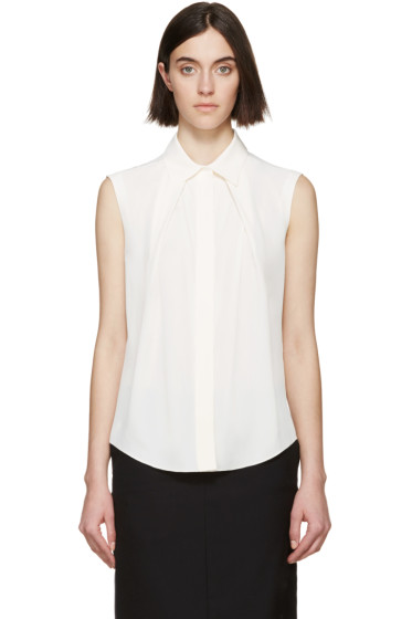 Jil Sander Navy - Cream Sleeveless Blouse