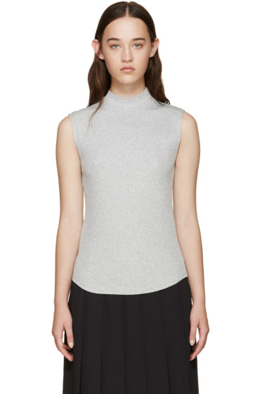 Nomia - Grey Ribbed Sleeveless T-Shirt