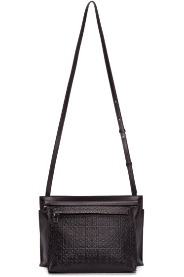 Loewe - Black Leather Large Double Pouch Shoulder Bag