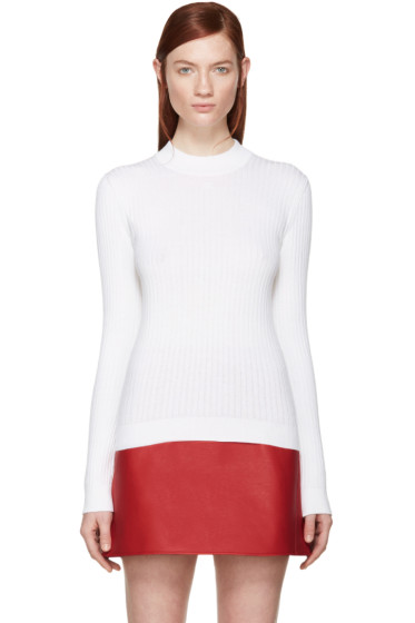 Courrèges - White Rib Knit Mock Neck Sweater