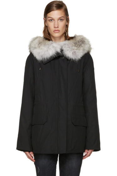 Army by Yves Salomon - Black Fur-Lined Classic Parka