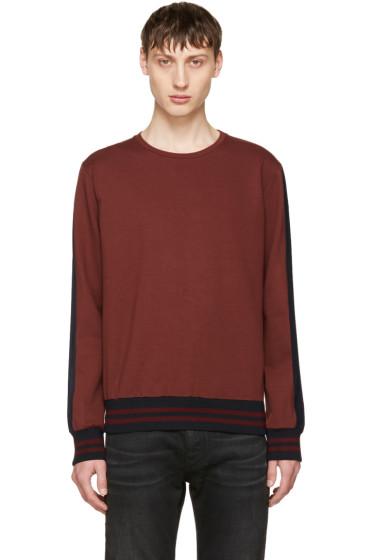 Giuliano Fujiwara - Burgundy Striped Sleeve Sweatshirt