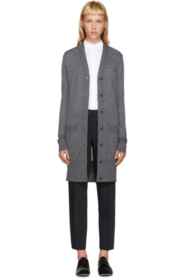 Jil Sander Navy - Grey Wool Long Cardigan