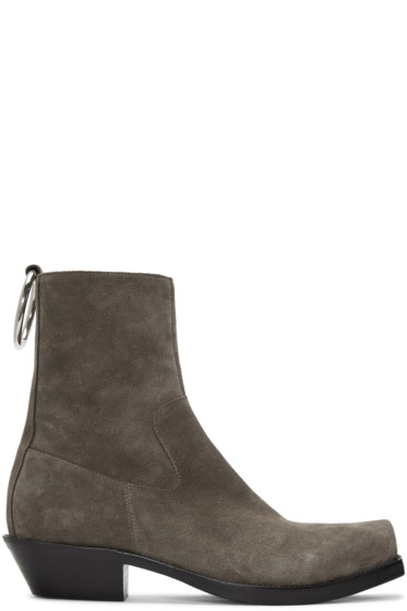 Vetements - Taupe Suede Ring Ankle Boots