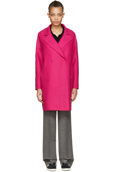 Harris Wharf London - ピンク ウール オーバーサイズ カラー コート