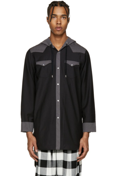 Kidill - Black Hooded Western Shirt