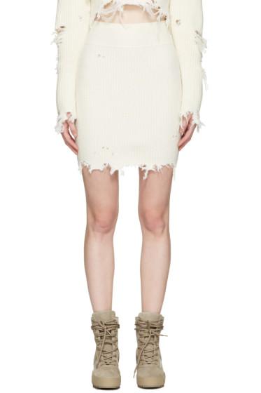YEEZY - Off-White Destroyed Bouclé Miniskirt