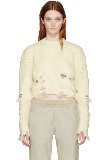 YEEZY - Off-White Destroyed Cropped Bouclé Sweater